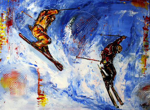 S 23 - Sport Gemälde Skifahrer Leinwandbild - Sperrzone