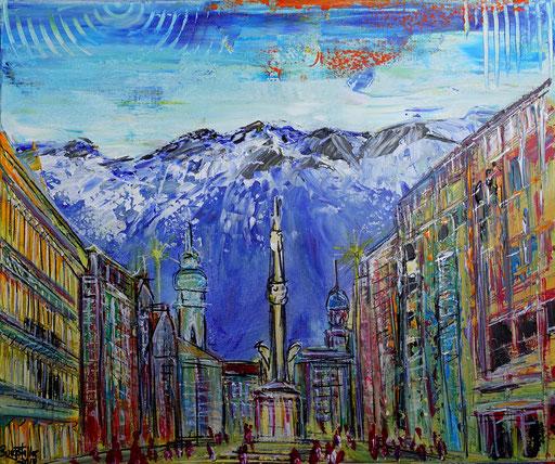 S 48 - Innsbruck abstrakt Mariensäule 50x60 - Malerei Stadtbild Stadt Gemälde