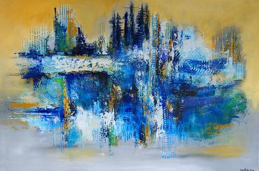 146 Verkaufte Bilder abstrakt - Reflexion gemalt - blau gelb weiß