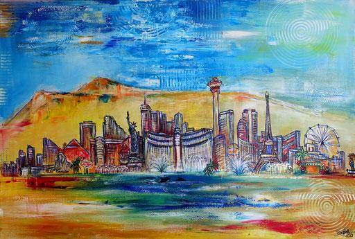 S 76 - Malerei Bild Wandbild Las Vegas Nevada Skyline abstrakt