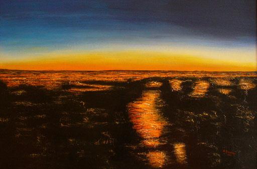 L 18 - Landschaftsbilder Gemälde - Sonnenuntergang Steinwüste