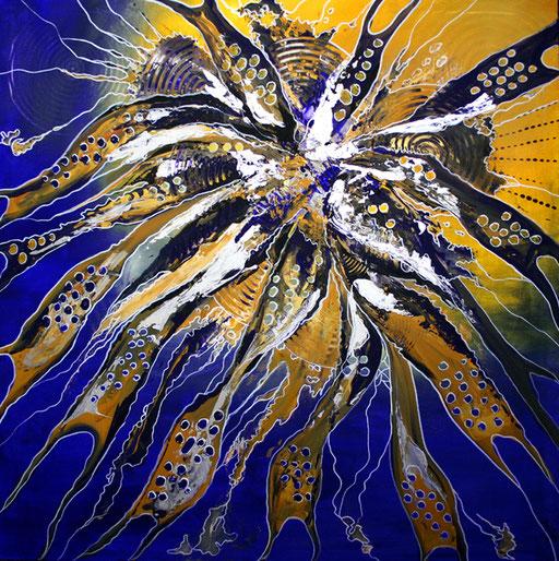 178 Verkaufte Bilder abstrakt - Spirit blau gelb gemalt