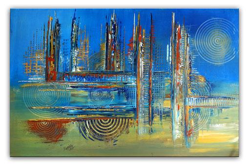 318 - Mare abstraktes Gemälde blau ocker 120x80