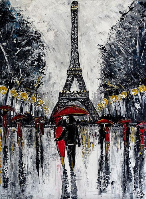 S 54 - Paris Eiffelturm Liebespaar Wandbild Malerei Gemälde