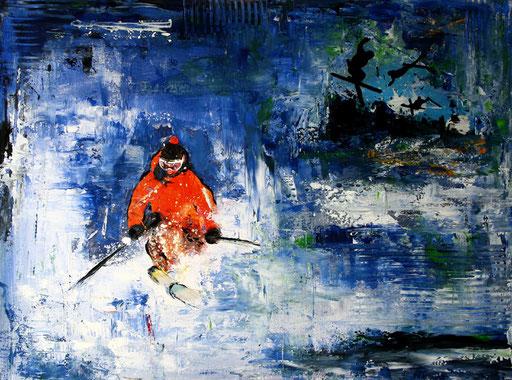 S 21 - Sport Gemälde Skifahrer Leinwandbild - Snow Fun