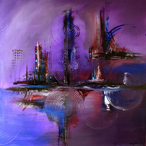 112 Verkaufte abstrakte Bilder - Lila City - violett lila