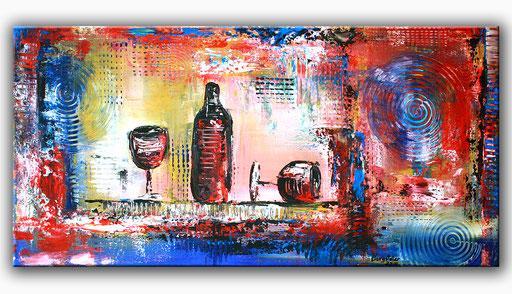 235  Verkaufte abstrakte Malerei Weinflasche Weingläser Wein rot blau