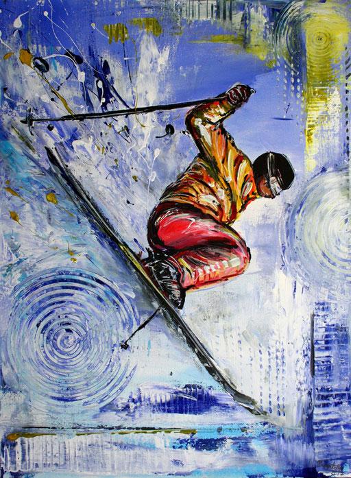 S 20- Sport Gemälde Skifahrer Leinwandbild - Skispringer