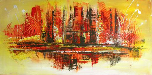 187 Verkaufte Bilder abstrakt - Timbuktu gemalt - gelb orange