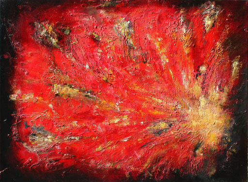 201 Verkaufte abstrakte Malerei -Urknall gemalt - rot gelb