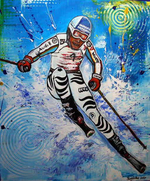S 30 - Sport Gemälde Skifahrer Leinwandbild - Fritz Dopfer 15