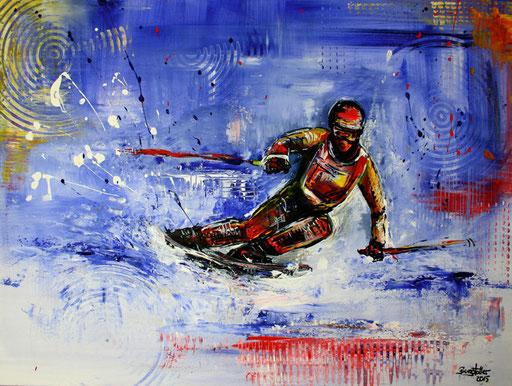 S 27 - Sport Gemälde Skifahrer Leinwandbild - Tiefschnee2
