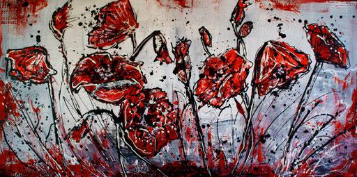 B 18 - Blumenbilder auf Leinwand - Mohnblüten