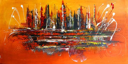 12 Handgemaltes Unikat abstrakt - Aleppo -orange gelb
