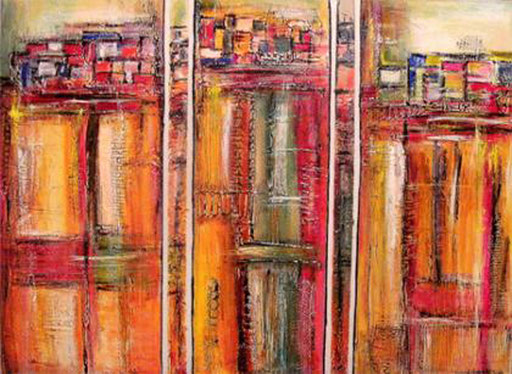 181 Verkaufte Bilder abstrakt - Ronda gemalt - rot orange Struktur