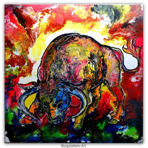 T 32 - Tierbilder Malerei Tiere - Wilder Stier abstrakt blaue Hörner