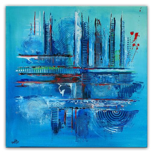 320 - Eisblau abstraktes Gemälde blau grau rot 80x80