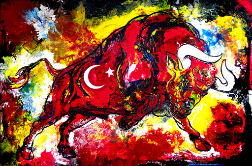 T 30 - Tierbilder Malerei Tiere - Wilder Stier Istanbul Türkisch