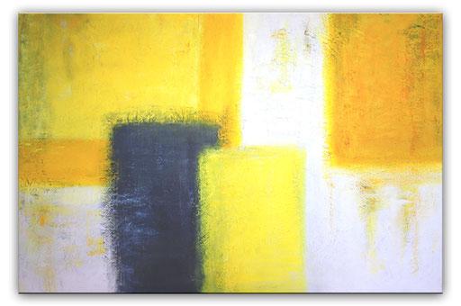 3 Handgemalte Unikate abstrakt grau schwarz gelb