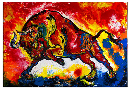 T 39 - Tierbilder Malerei Tiere - Wilder Stier abstrakt rot gelb