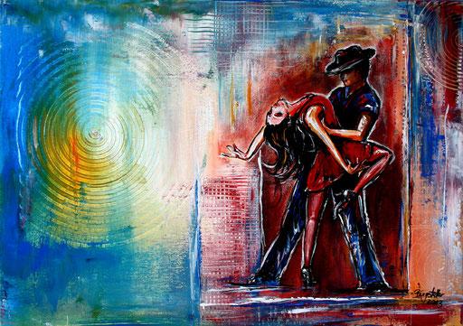 S 8 - Wandbild Tanzpaar - Tanz Gemälde Tänzer - Merenque 2
