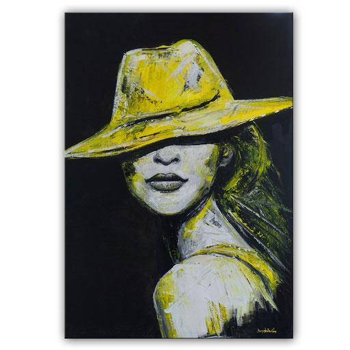 P 67 - Porträt Gesichter Malerei - Frau mit gelbem Hut 4