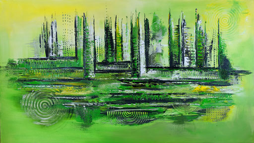 82 abstraktes Unikat handgefertigt - Forest XXL - grün grau