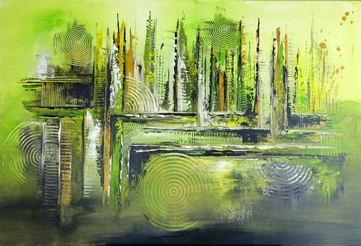 76 abstraktes Unikat handgefertigt - Gras Grün gelb grau