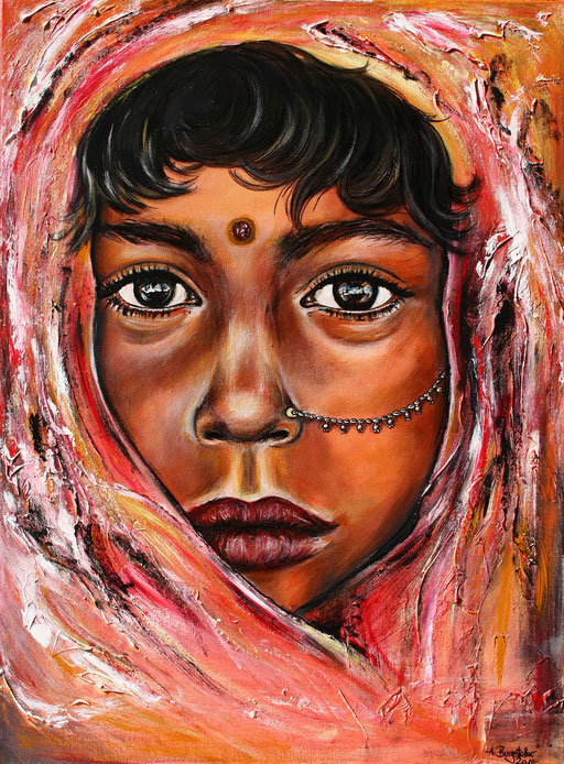 P 59 - Künstler Portrait Gesichter Gemalt - India Girl 2