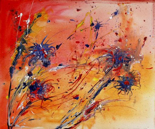 107 Verkaufte abstrakte Bilder - Kornblumensamen - orange blau rot