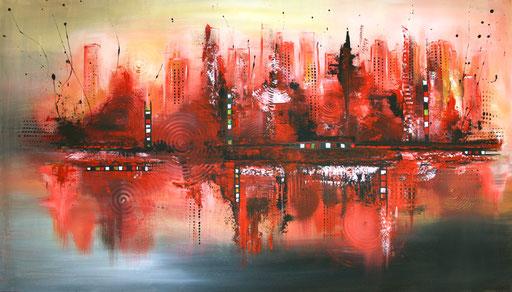 144 Verkaufte Bilder abstrakt - Rote Stadt 2 - rot weiß grau schwarz