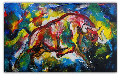 T42 Wilder Stier Bulle Moderne Malerei Original Gemälde