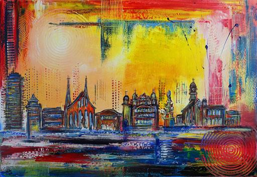 S 84 - Malerei Bild Wandbild Augsburger Skyline abstrakt