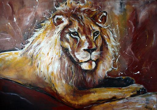 T 10 - Tierbilder Gemälde Tiere - Löwe