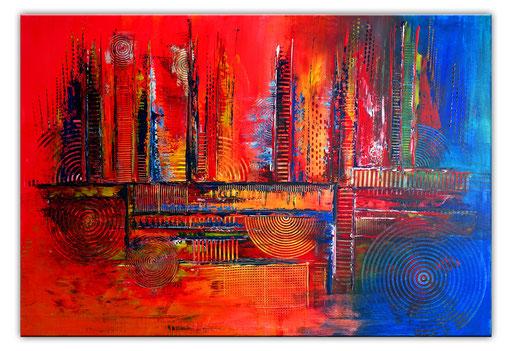 281 - Abstrakte Gemälde Verkauft - Auftragsmalerei blau gelb rot 80x120