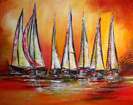 L9 - Landschaftsbilder Gemälde - Segelboote Sunset Boats