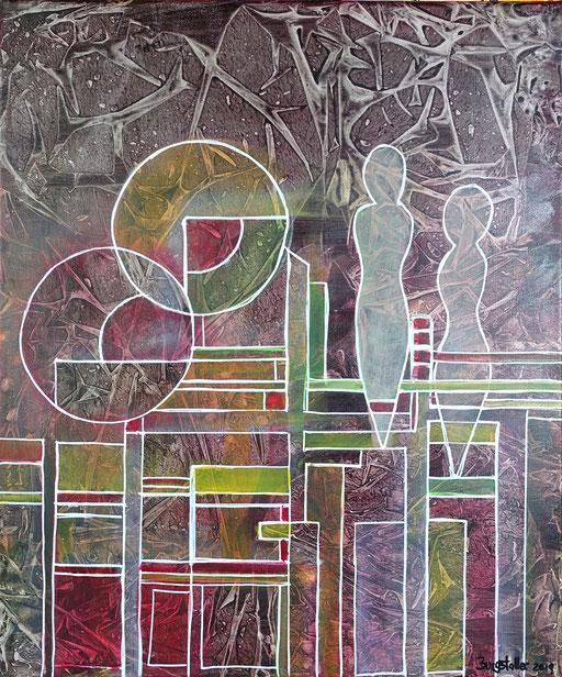 273 - Abstrakte Gemälde Verkauft - Weinflaschen Auftragsmalerei