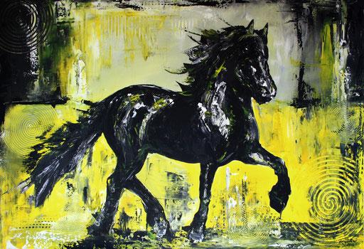T 19 - Tierbilder Malerei Tiere - Pferd Hengst gelb grau schwarz
