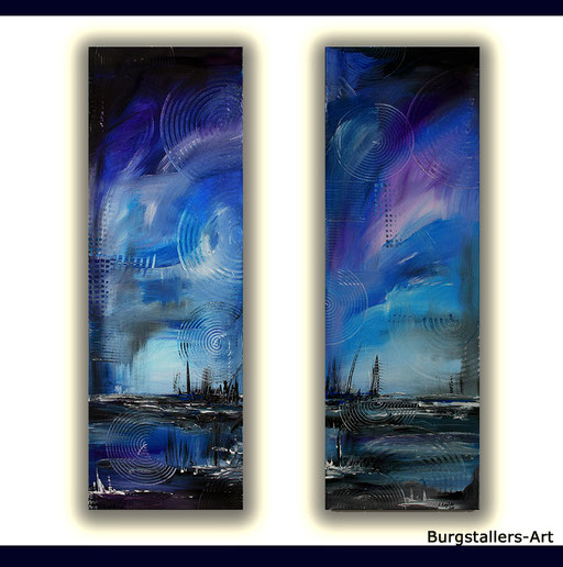 121 Verkaufte abstrakte Bilder - Moorlandschaft gemalt - blau grau ocker