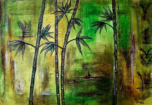 B 2 - Blumenbilder auf Leinwand - Bambus