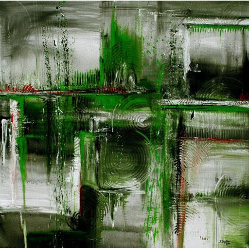 77 abstraktes Unikat handgefertigt - Graue Kreise - grau grün