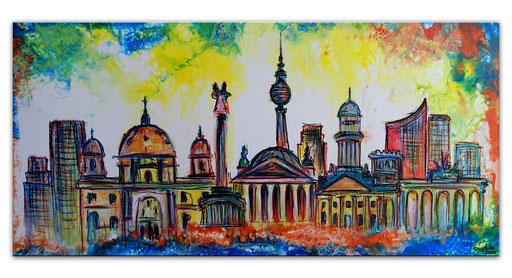 S 73 - Malerei Bild Wandbild Berliner Skyline abstrakt