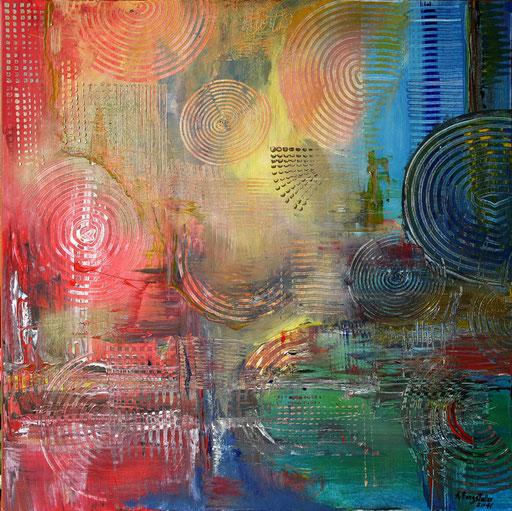 108 Verkaufte abstrakte Bilder - Kreisenmeer - gelb blau türkis