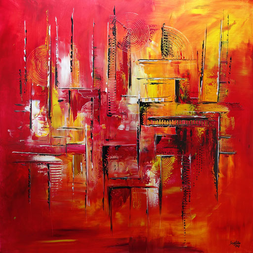 276 - Abstrakte Gemälde Verkauft - Feuerlabyrinth rot gelb