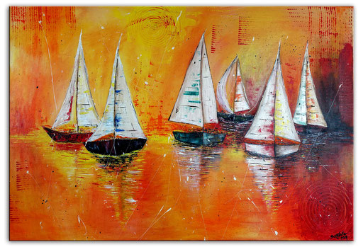L 28 Segelboote Sonnenuntergang 140x80