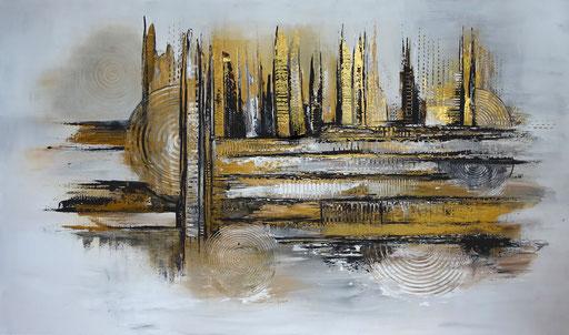 264 Verkaufte abstrakte Malerei silber gold xxl bild querformat