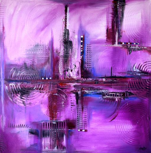114 Verkaufte abstrakte Bilder - Lila Skyline - violett lila