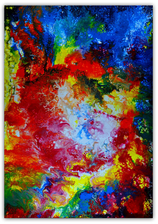 312 - Supernova abstrakt Fluid Art Pouring 81x116
