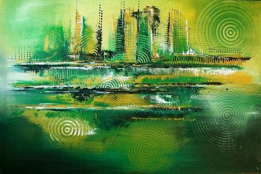 78 abstraktes Unikat handgefertigt - Green Motion - gelb grün grau