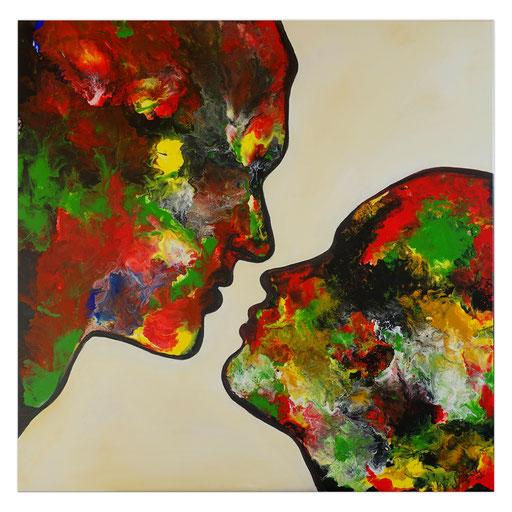 P113 Porträt Malerei Fluid Art Pouring Frauen Gesichter
